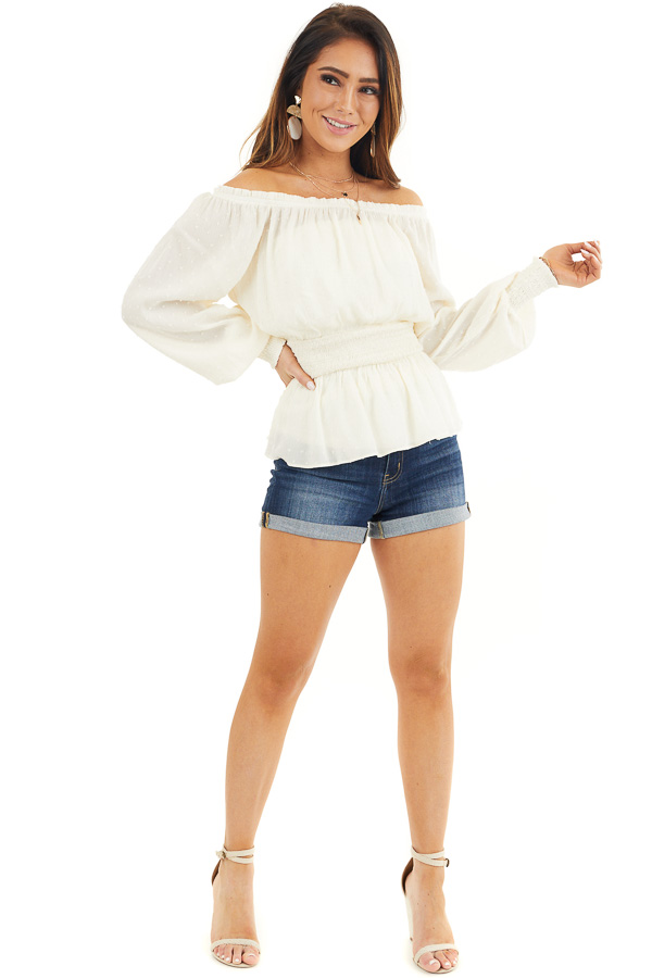 Ivory Swiss Dot Off Shoulder Peasant Top with Smocked Waist front full body