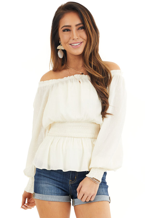 Ivory Swiss Dot Off Shoulder Peasant Top with Smocked Waist front close up