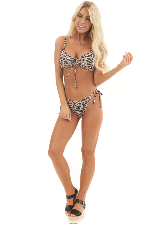 Latte and Black Leopard Print Bikini with Tie Details front full body