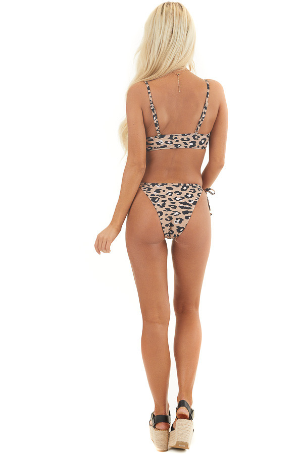 Latte and Black Leopard Print Bikini with Tie Details back full body