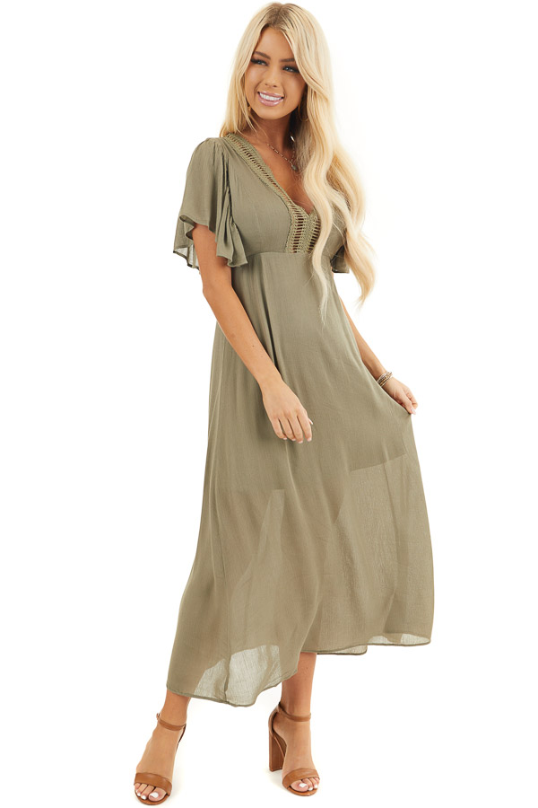 Olive Short Sleeve Maxi Dress with Sheer Lace Trim front full body