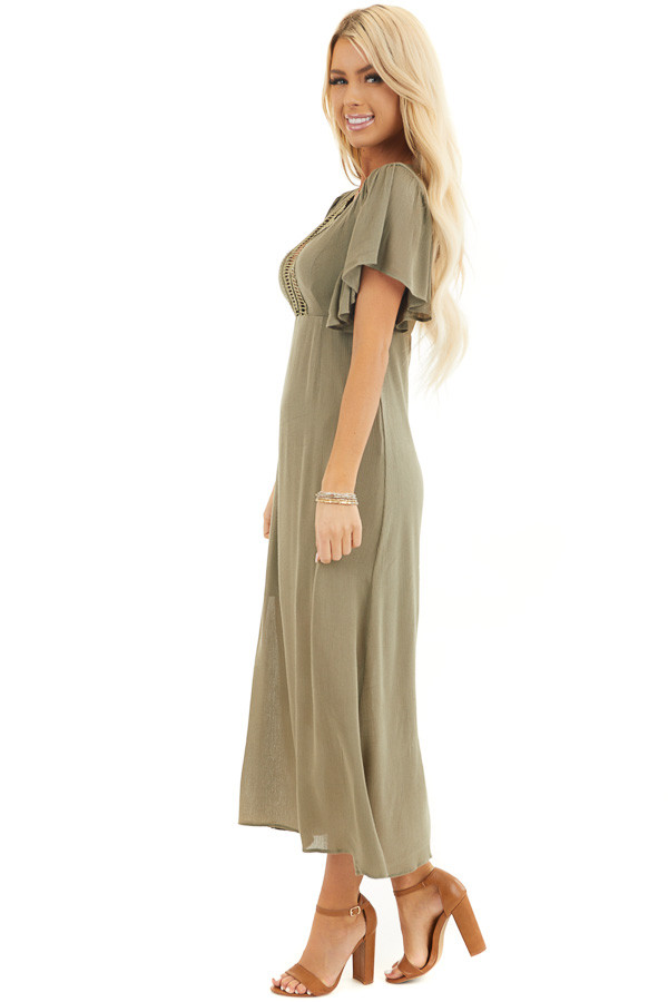 Olive Short Sleeve Maxi Dress with Sheer Lace Trim side full body