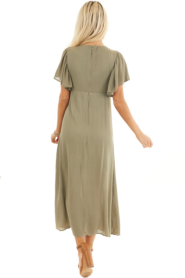 Olive Short Sleeve Maxi Dress with Sheer Lace Trim back full body