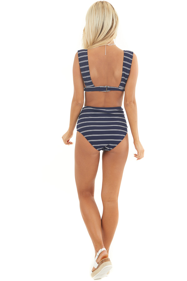 Navy Blue and White Striped Ribbed Knit High Waisted Bikini back full body