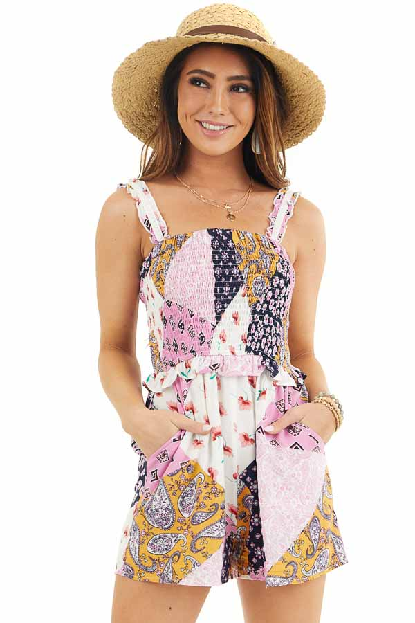 Baby Pink and Navy Multiprint Patchwork Romper with Smocking front close up