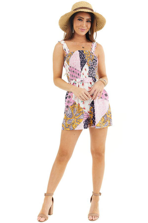 Baby Pink and Navy Multiprint Patchwork Romper with Smocking front full body