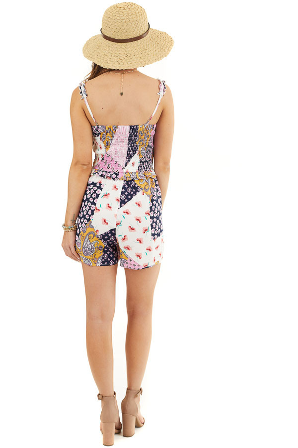 Baby Pink and Navy Multiprint Patchwork Romper with Smocking back full body