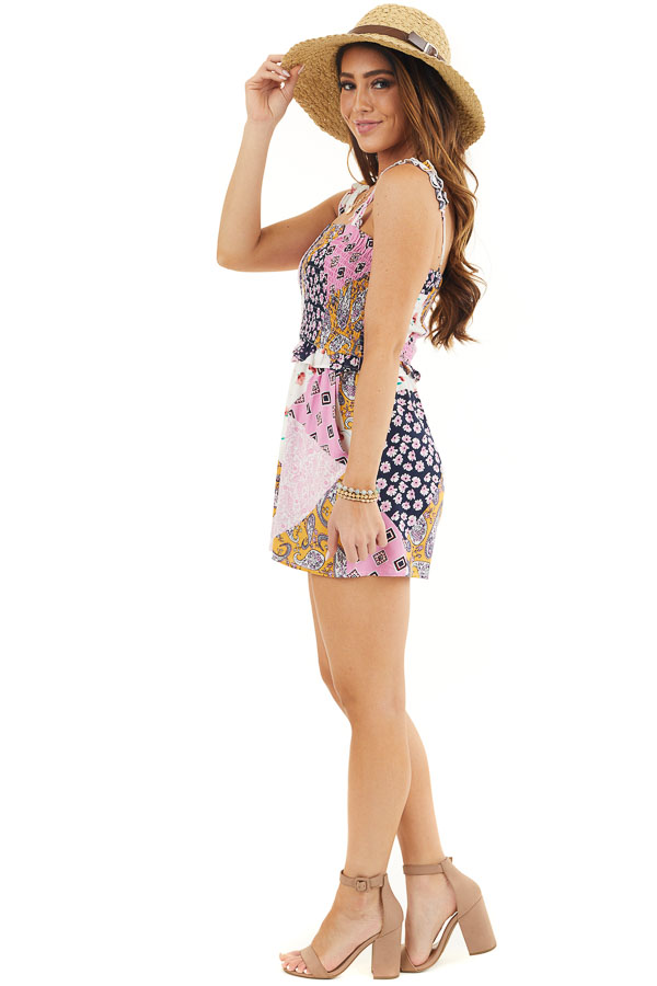 Baby Pink and Navy Multiprint Patchwork Romper with Smocking side full body