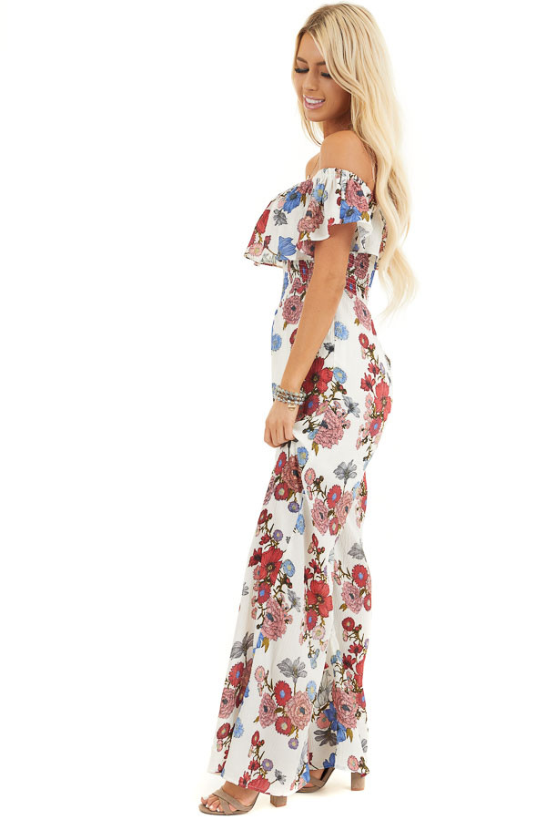 Off White Floral Print Off Shoulder Jumpsuit with Smocking side full body