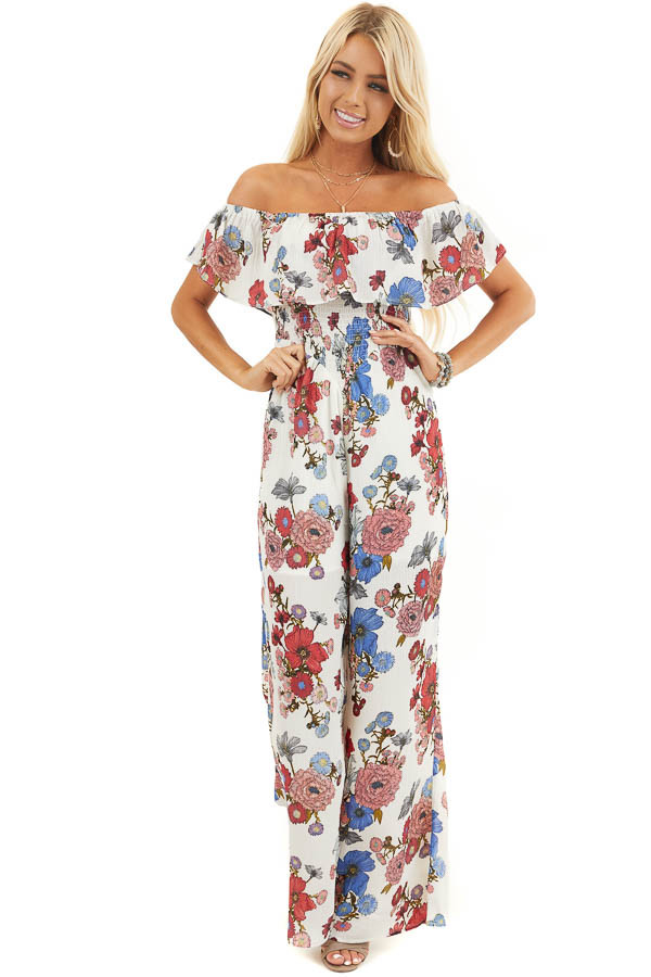 Off White Floral Print Off Shoulder Jumpsuit with Smocking front full body