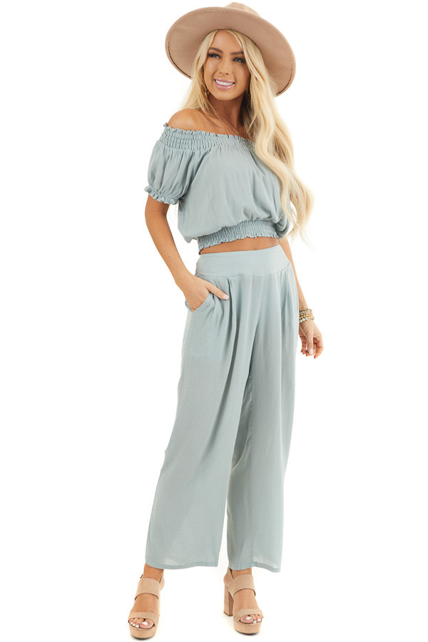 Sage Off Shoulder Crop Top and Wide Leg Pants Two Piece Set front full body