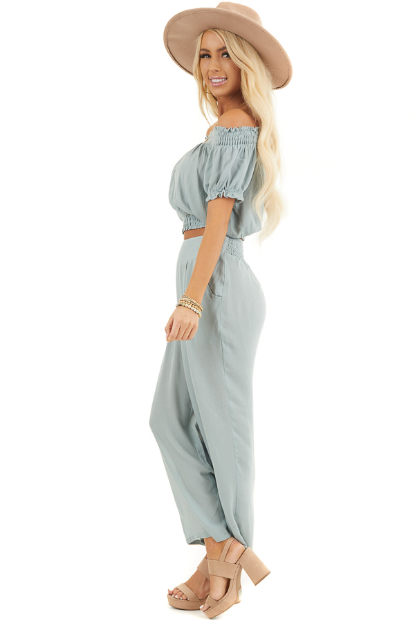 Sage Off Shoulder Crop Top and Wide Leg Pants Two Piece Set side full body
