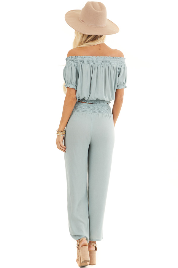 Sage Off Shoulder Crop Top and Wide Leg Pants Two Piece Set back full body