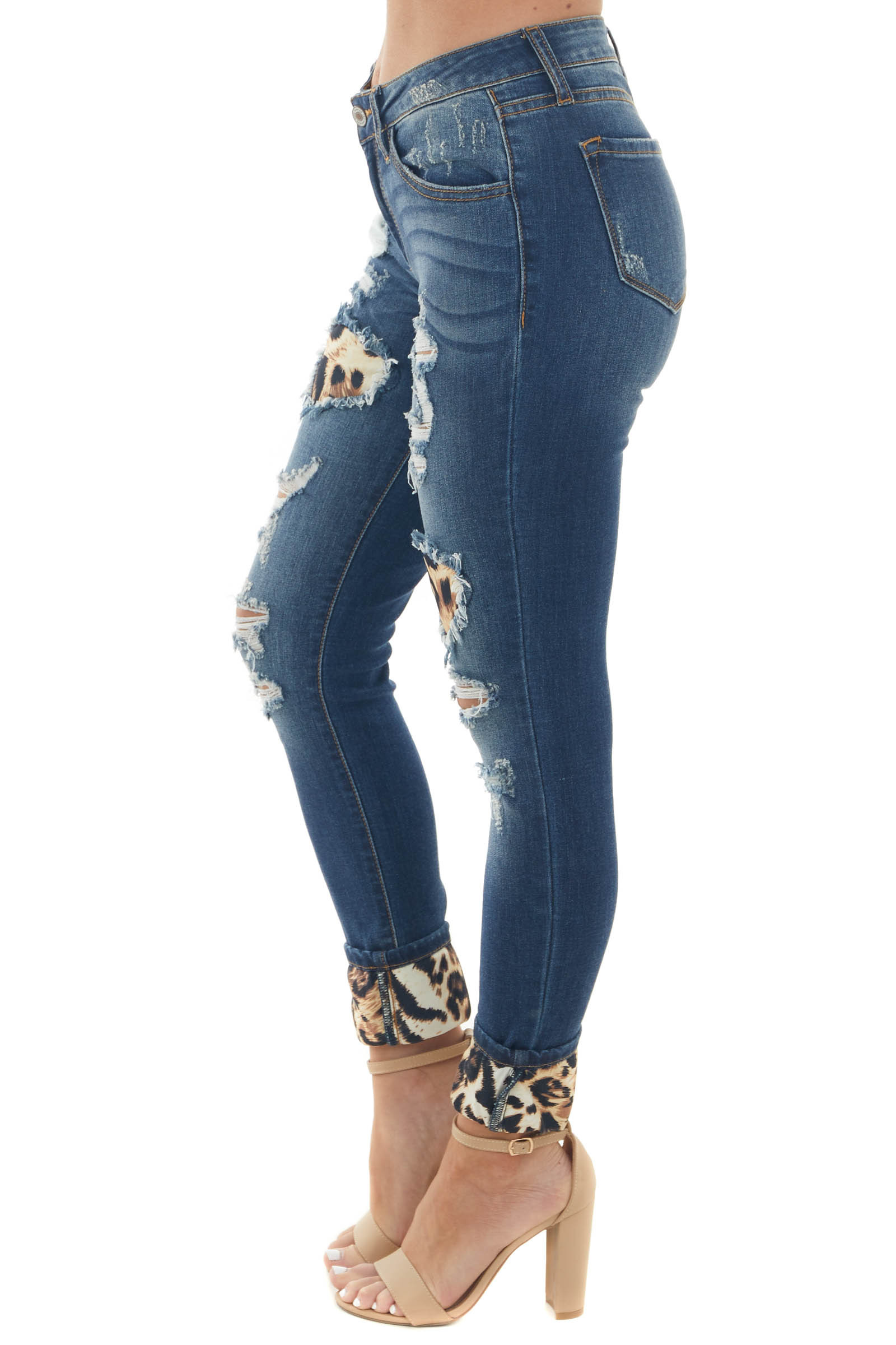 Midwash Skinny Jeans with Leopard Cuffed Hem and Patches