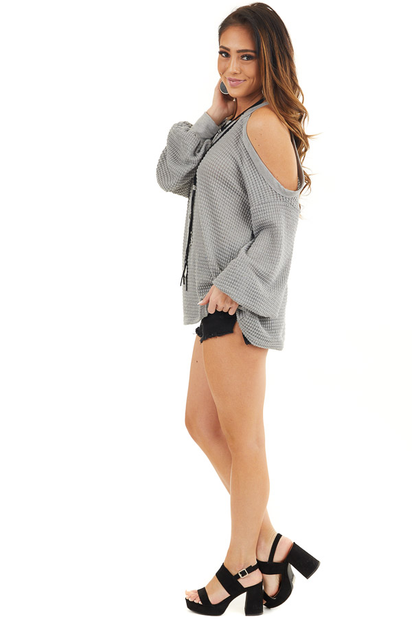 Grey Textured Knit Top with Cold Shoulders and Long Sleeves side full body