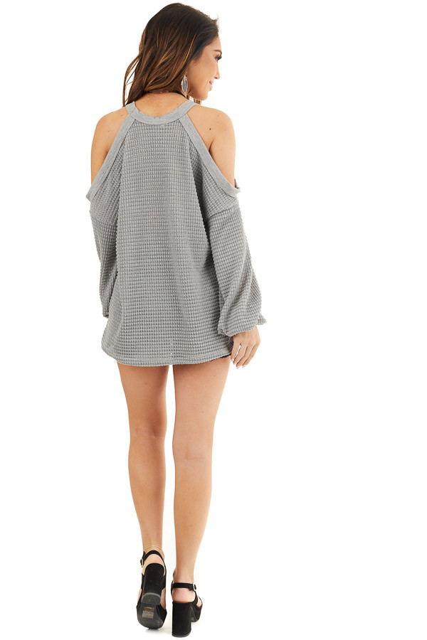 Grey Textured Knit Top with Cold Shoulders and Long Sleeves back full body