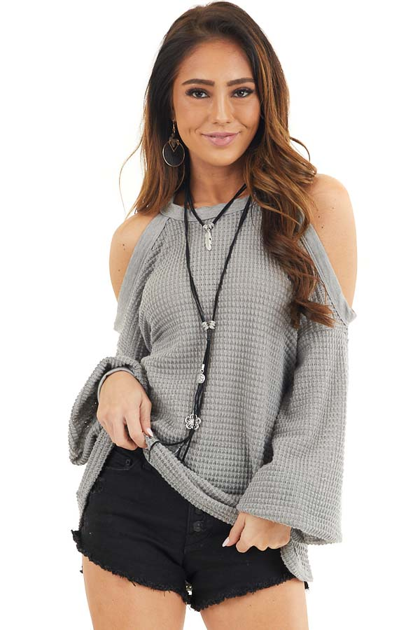 Grey Textured Knit Top with Cold Shoulders and Long Sleeves front close up