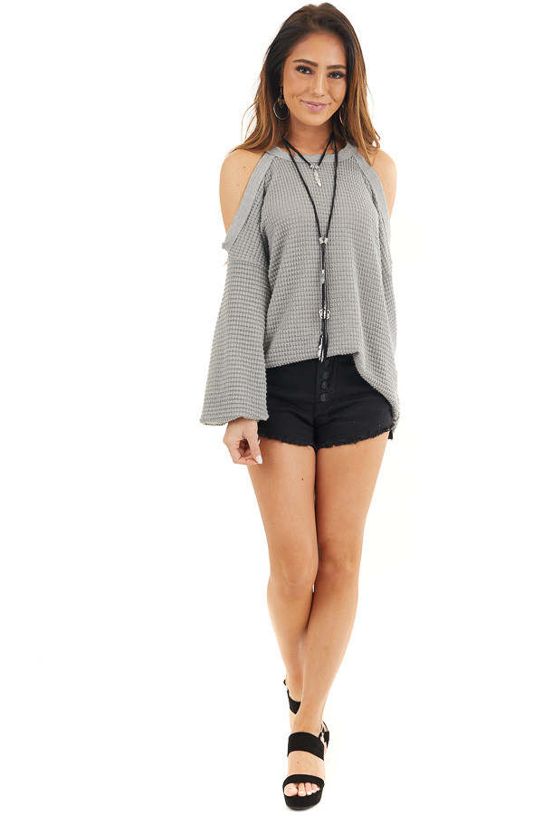 Grey Textured Knit Top with Cold Shoulders and Long Sleeves front full body