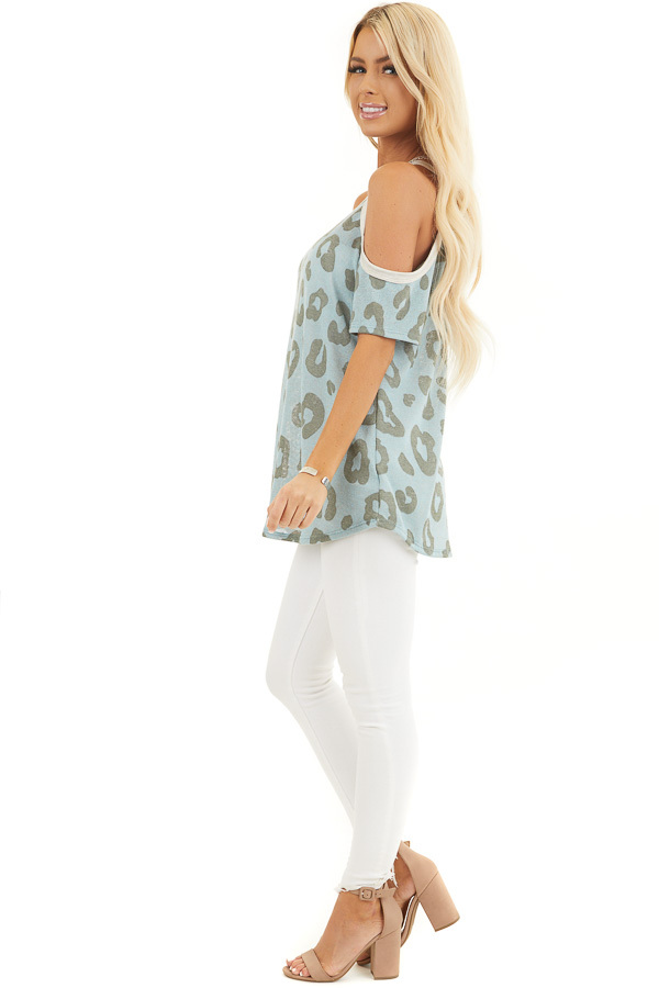 Baby Blue Leopard Print Short Sleeve Top with Cold Shoulders side full body