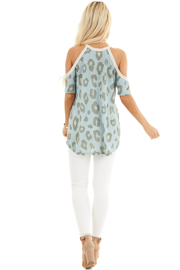 Baby Blue Leopard Print Short Sleeve Top with Cold Shoulders back full body