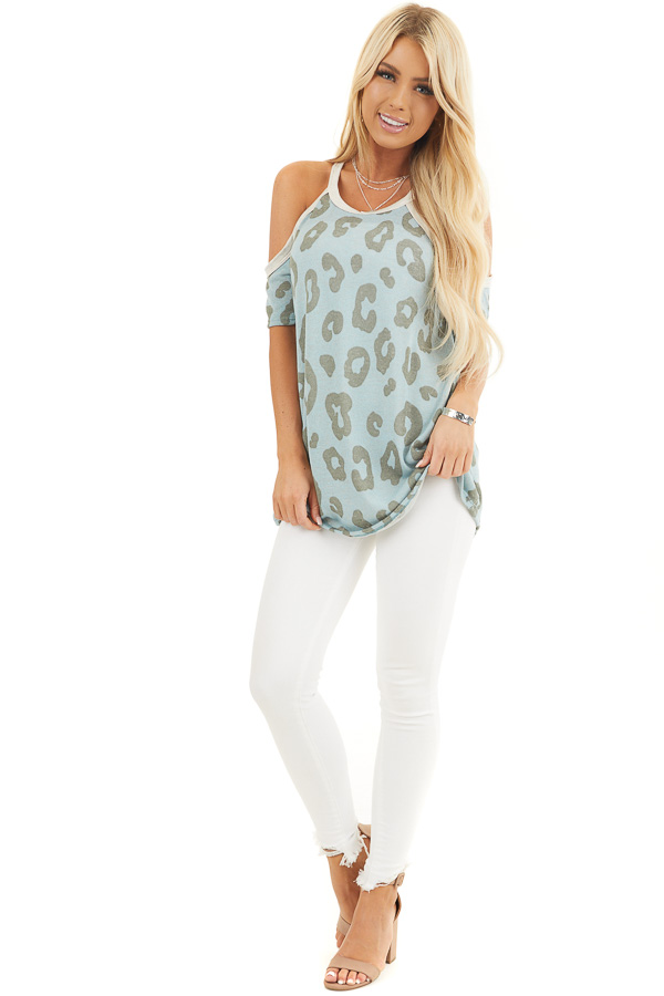 Baby Blue Leopard Print Short Sleeve Top with Cold Shoulders front full body