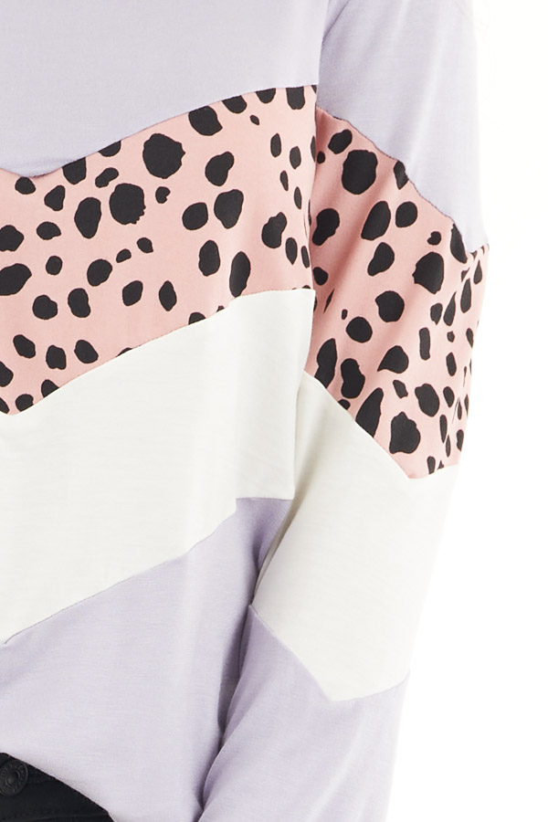 Lavender and Cheetah Print Colorblock Top with Long Sleeves detail