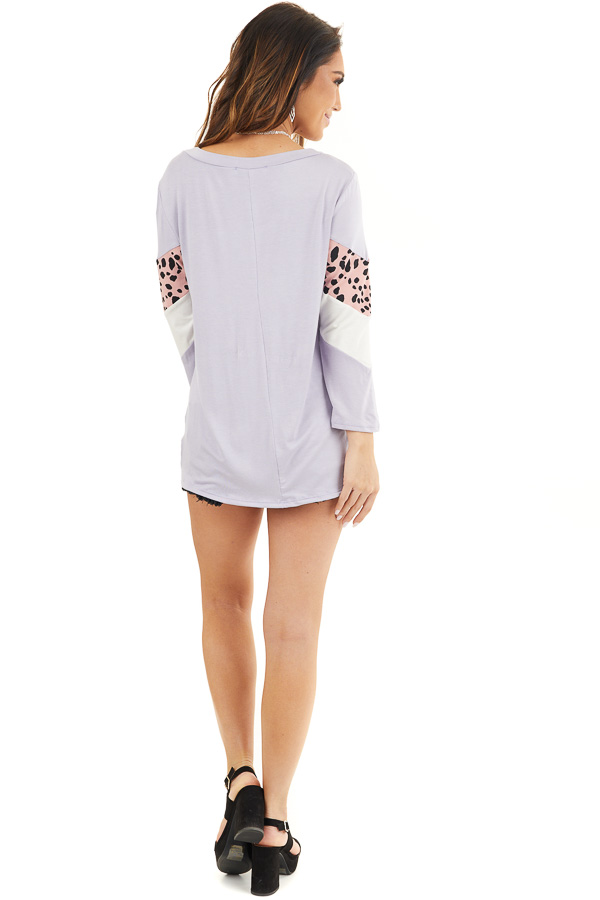 Lavender and Cheetah Print Colorblock Top with Long Sleeves back full body