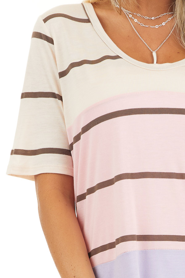 Blush and Lavender Striped Round Neck Top with Short Sleeves detail