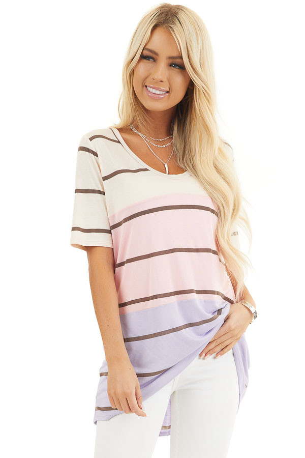 Blush and Lavender Striped Round Neck Top with Short Sleeves front close up
