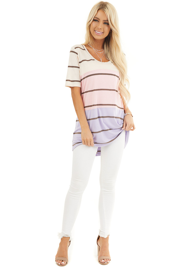 Blush and Lavender Striped Round Neck Top with Short Sleeves front full body