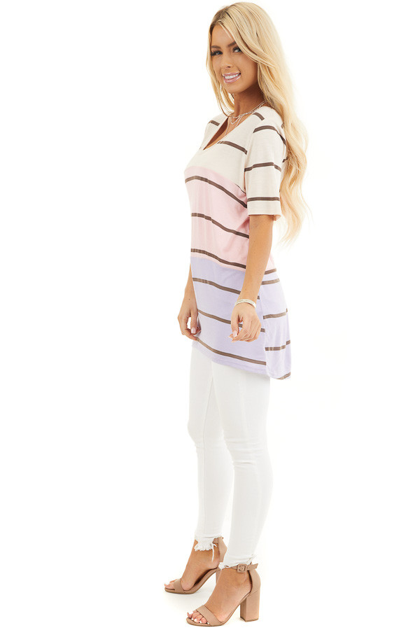 Blush and Lavender Striped Round Neck Top with Short Sleeves side full body