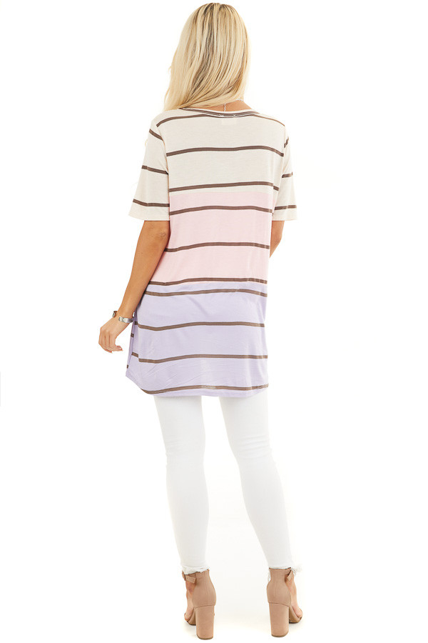 Blush and Lavender Striped Round Neck Top with Short Sleeves back full body