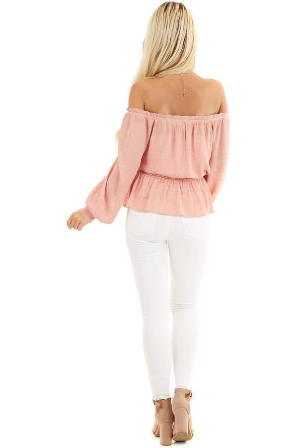 Salmon Swiss Dot Off Shoulder Peasant Top with Smocked Waist back full body