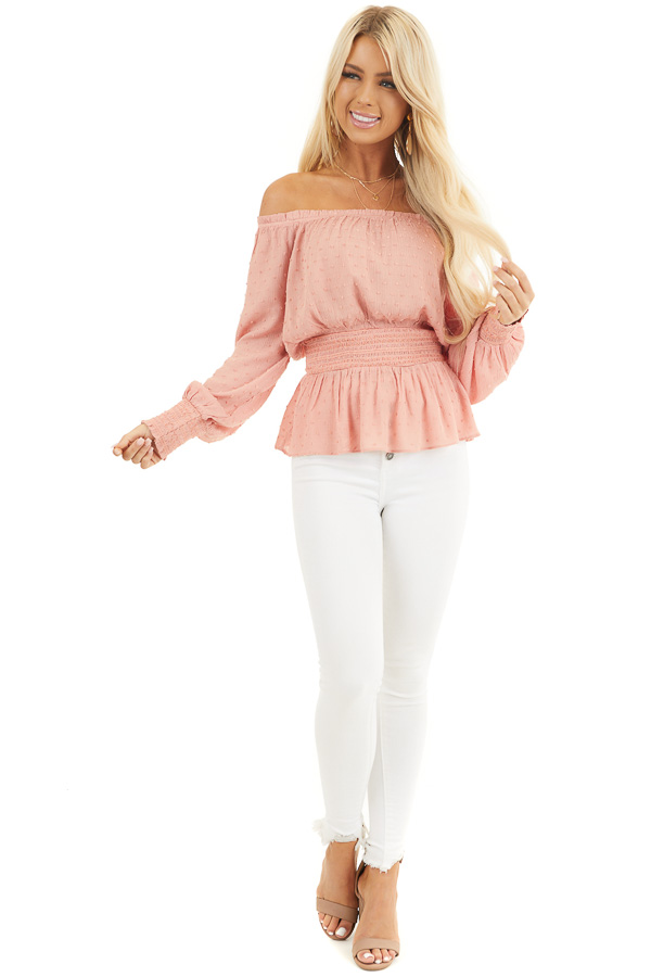 Salmon Swiss Dot Off Shoulder Peasant Top with Smocked Waist front full body