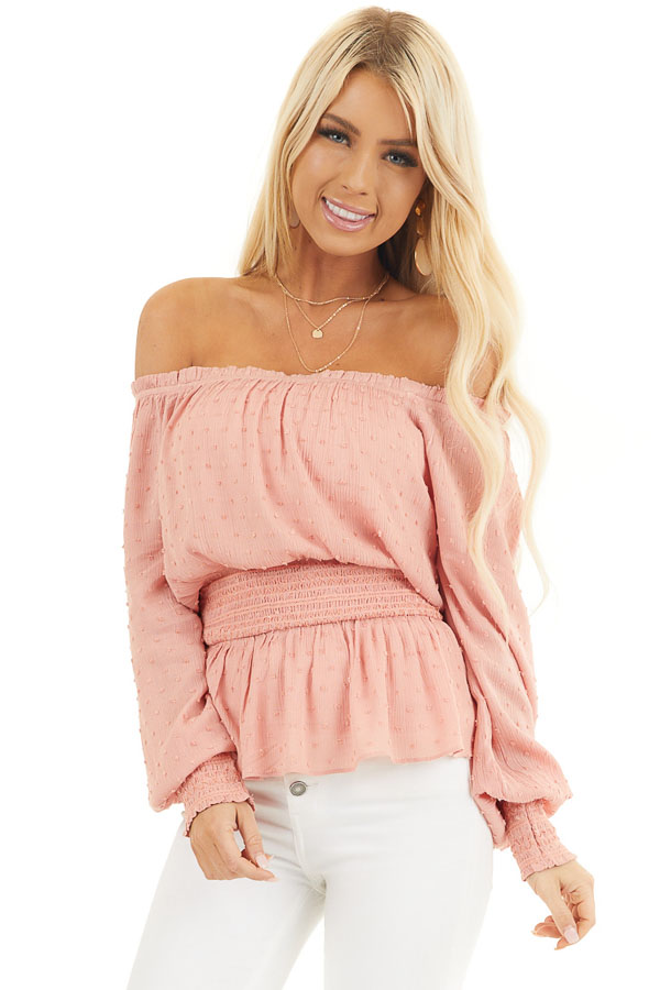 Salmon Swiss Dot Off Shoulder Peasant Top with Smocked Waist front close up
