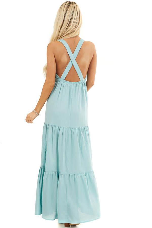 Soft Seafoam V Neck Maxi Dress with Tiered Skirt and Ruffles back full body