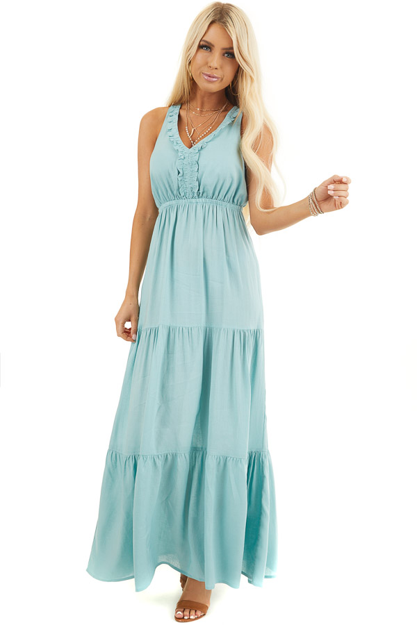 Soft Seafoam V Neck Maxi Dress with Tiered Skirt and Ruffles front full body
