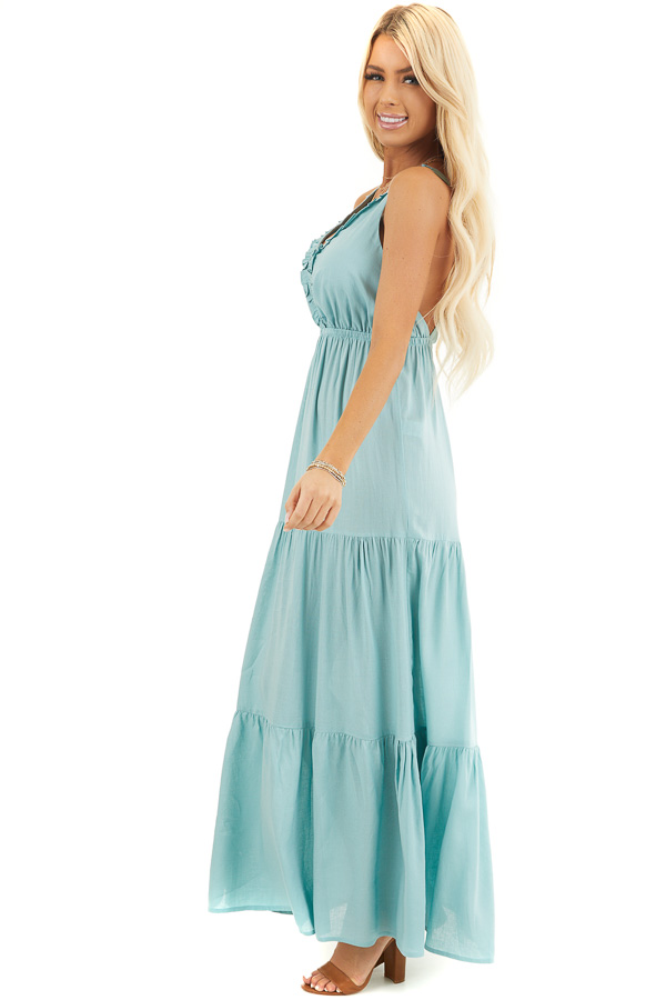 Soft Seafoam V Neck Maxi Dress with Tiered Skirt and Ruffles side full body