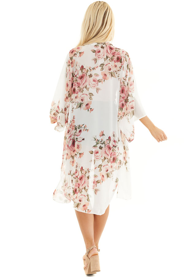 Ivory Floral Print Lightweight Kimono with Side Slits back full body