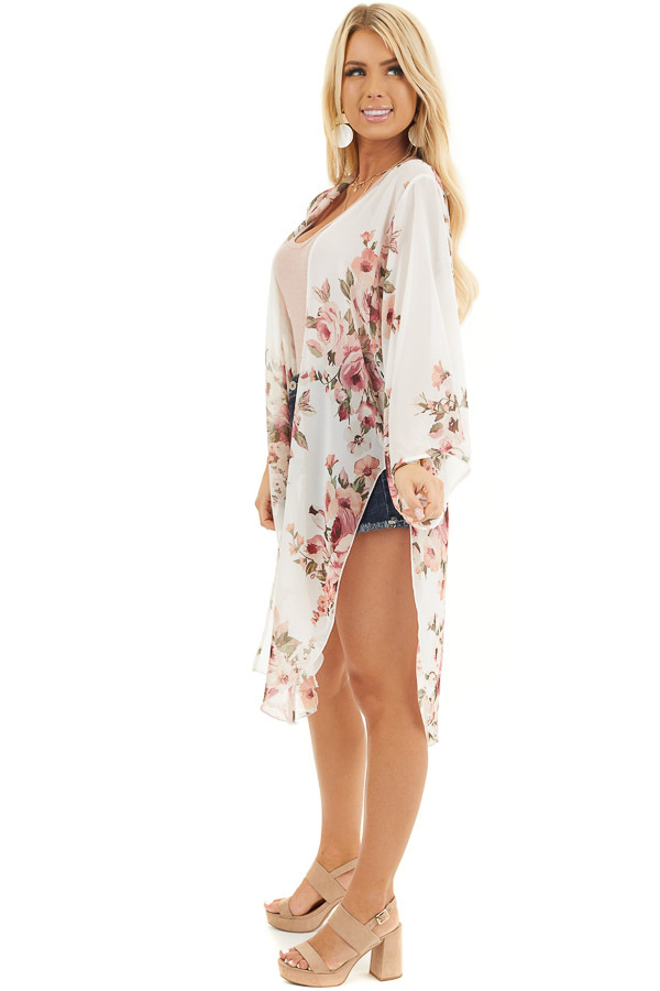 Ivory Floral Print Lightweight Kimono with Side Slits side full body