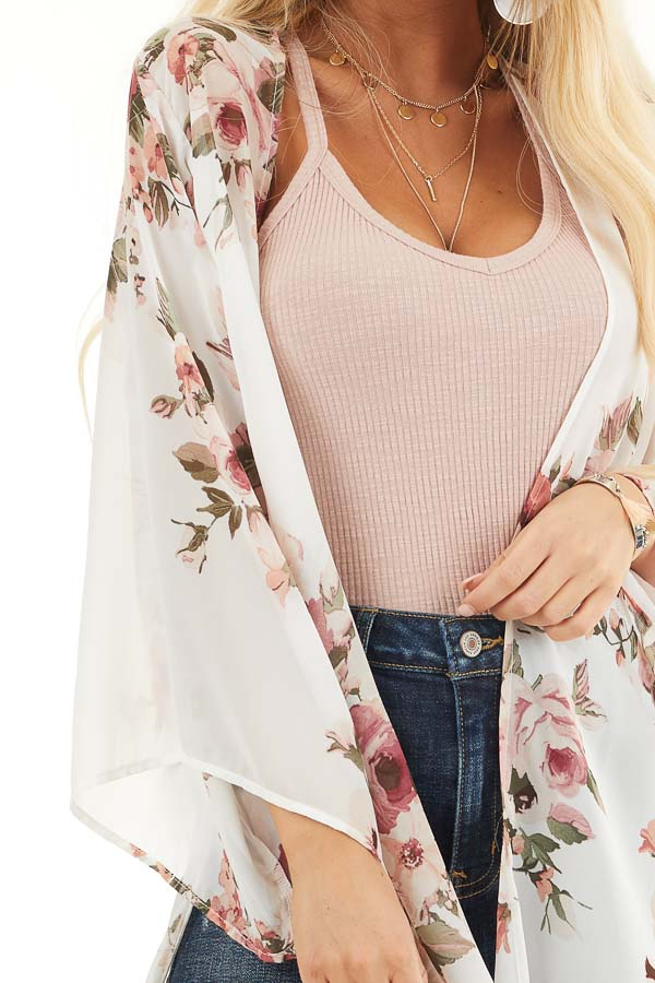 Ivory Floral Print Lightweight Kimono with Side Slits detail