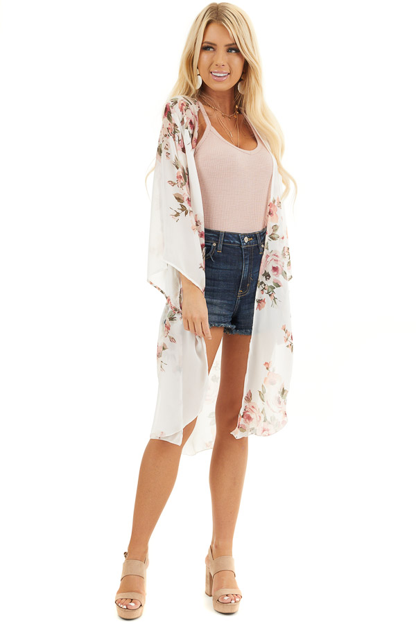 Ivory Floral Print Lightweight Kimono with Side Slits front full body