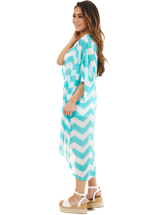 Teal and Ivory Lightweight Chevron Kimono with Open Front side full body