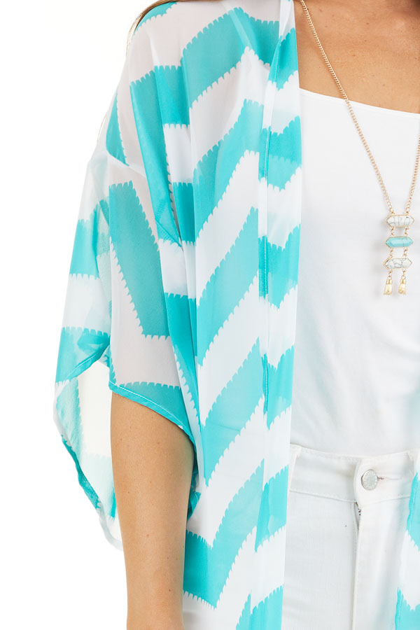 Teal and Ivory Lightweight Chevron Kimono with Open Front detail