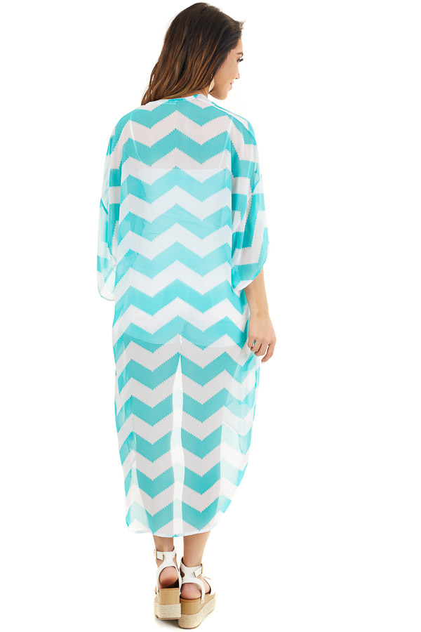 Teal and Ivory Lightweight Chevron Kimono with Open Front back full body