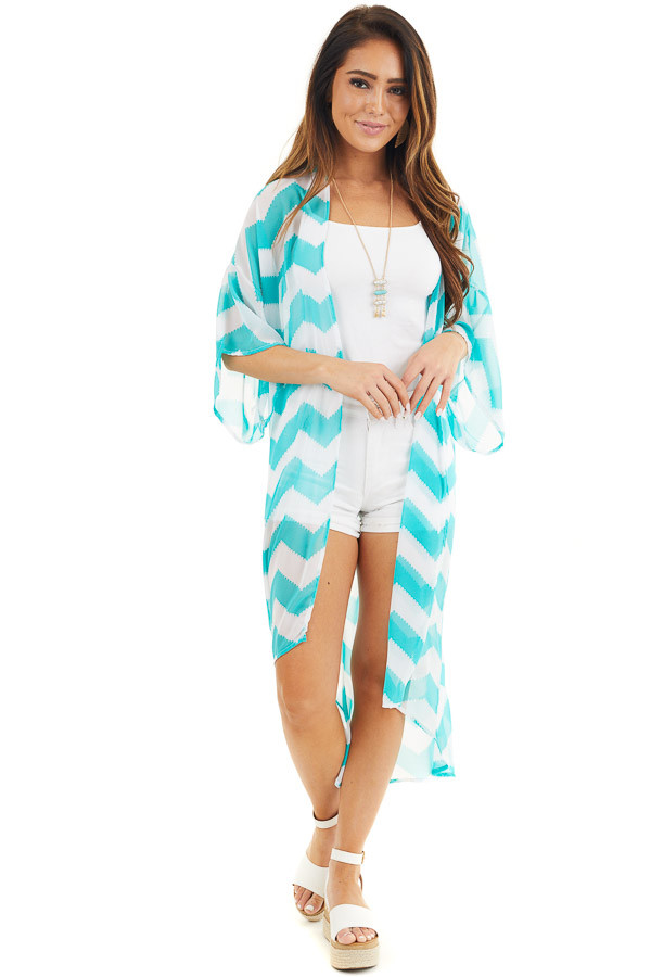 Teal and Ivory Lightweight Chevron Kimono with Open Front front full body