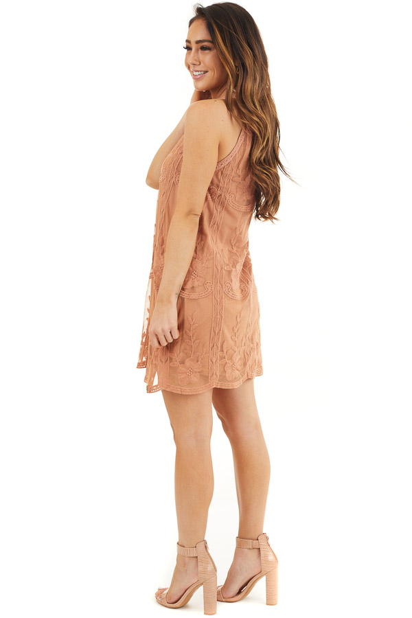 Terracotta Floral Embroidered High Neck Mini Dress side full body