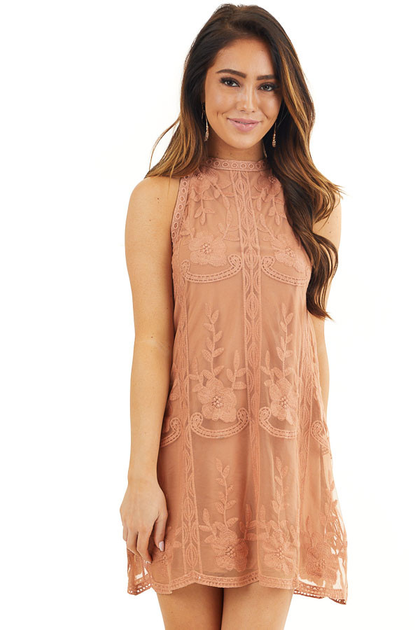 Terracotta Floral Embroidered High Neck Mini Dress front close up