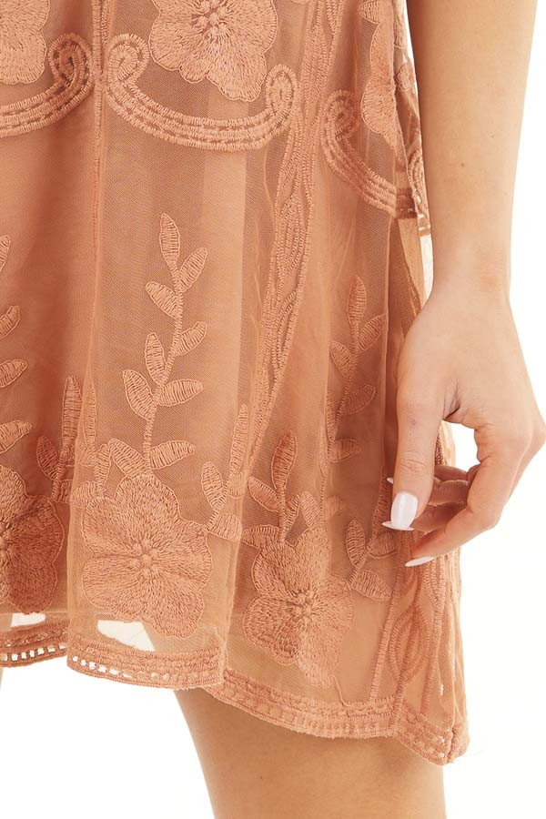 Terracotta Floral Embroidered High Neck Mini Dress detail