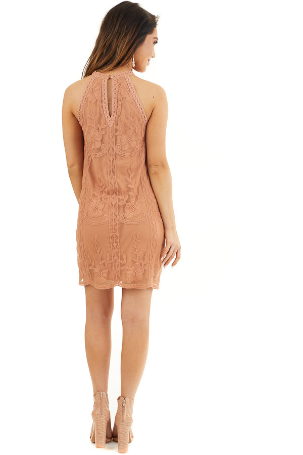 Terracotta Floral Embroidered High Neck Mini Dress back full body